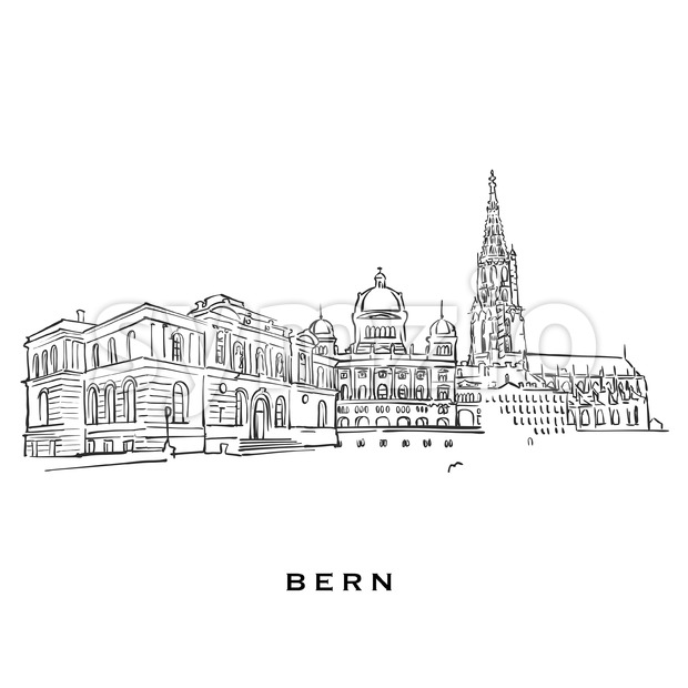 Bern Switzerland famous architecture Stock Vector