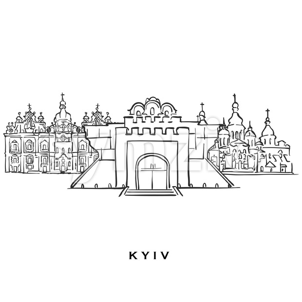 Kyiv Ukraine famous architecture Stock Vector