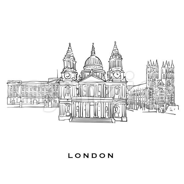 London United Kingdom famous architecture Stock Vector