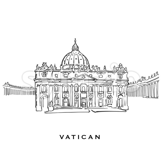Vatican famous architecture. Outlined vector sketch separated on white background. Architecture drawings of all European capitals.