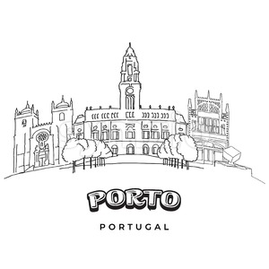 Porto, Portugal famous architecture Stock Vector