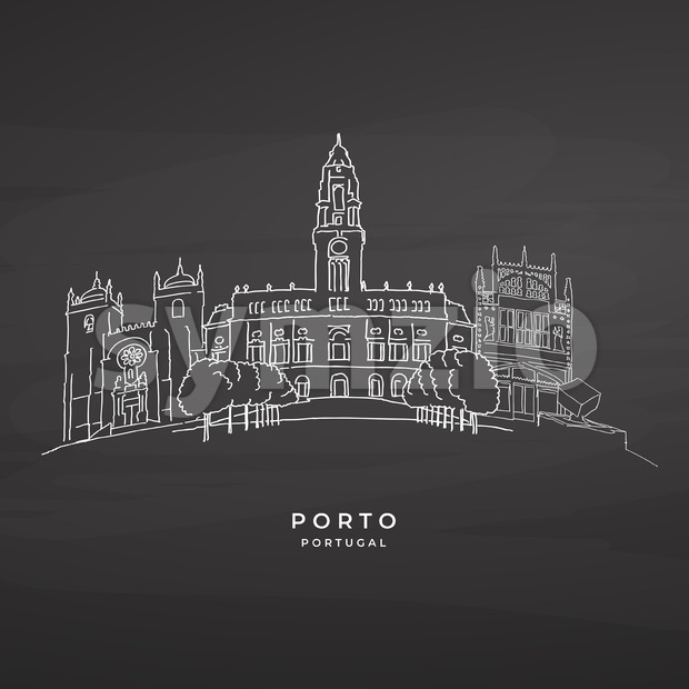 Porto, Portugal famous architecture on blackboard Stock Vector