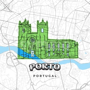 Porto Portugal drawing on map Stock Vector