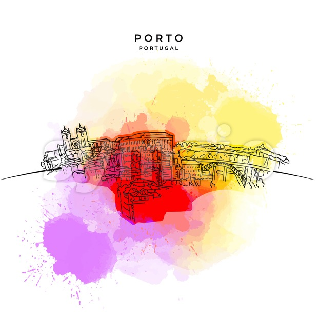 On the roofs of Porto Stock Vector