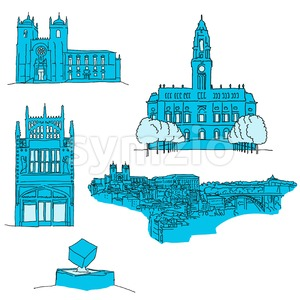 Porto Portgal famous architecture Stock Vector