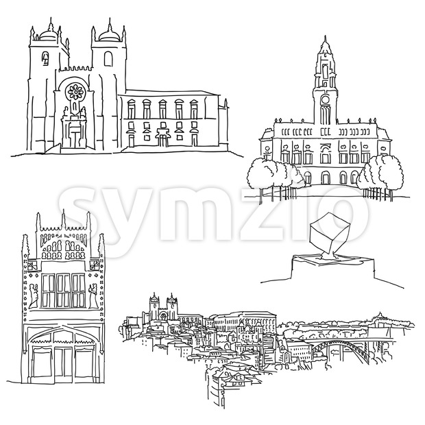 Porto Portgal historic architecture. Hand-drawn vector illustration. Famous travel destinations series.