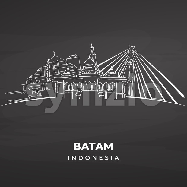 Batam Landmarks on blackboard. Hand-drawn vector illustration. Famous travel destinations series.