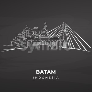 Batam Landmarks on blackboard Stock Vector