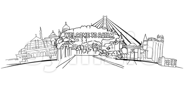 Batam Indonesia Panorama Banner Stock Vector
