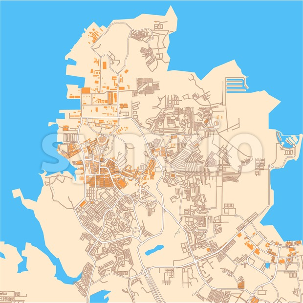 Batam downtown vector map. Map for infographic and marketing print projects