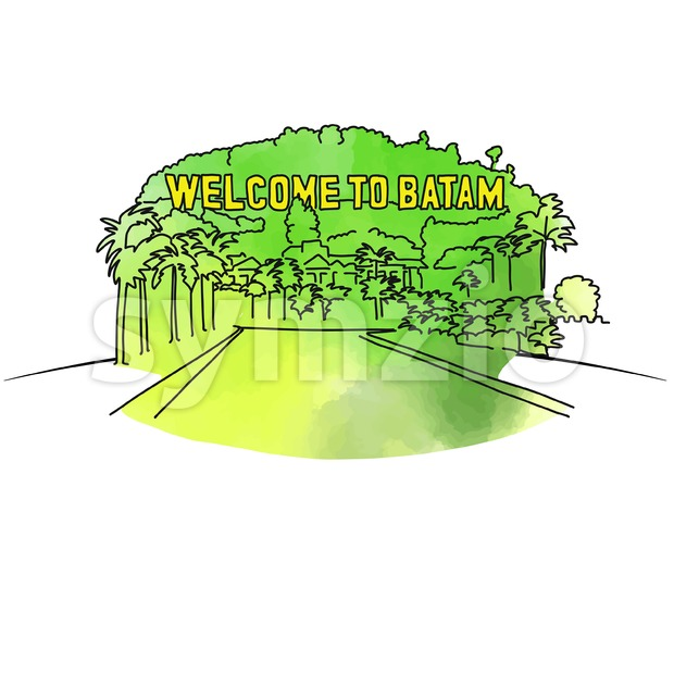 Welcome to Batam outline drawing Stock Vector