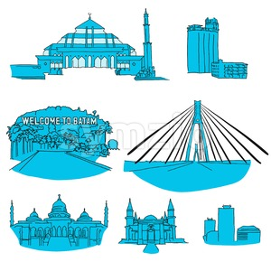 Batam hand-drawn architecture Stock Vector