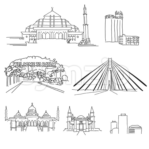 Batam famous architecture outlines Stock Vector