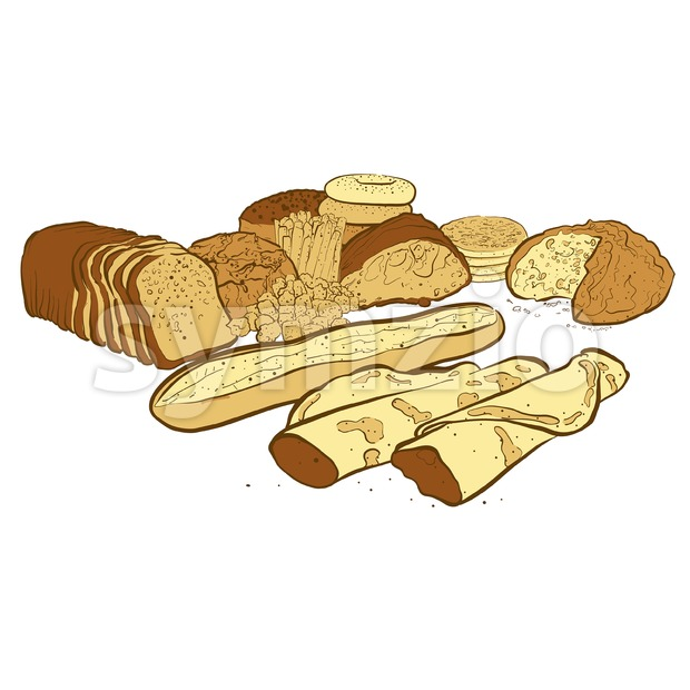 Set of breads Stock Vector