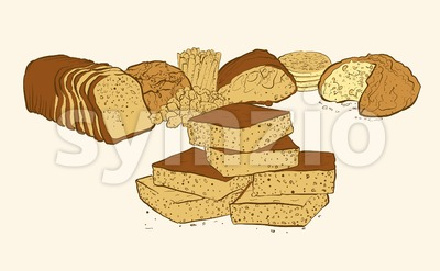 sweets and breads composition Stock Vector