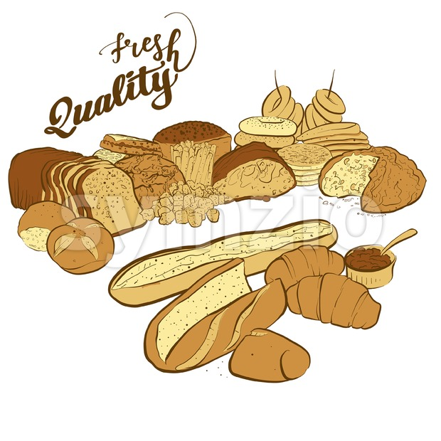 Set of breads with fresh quality title, hand-drawn vector sketch