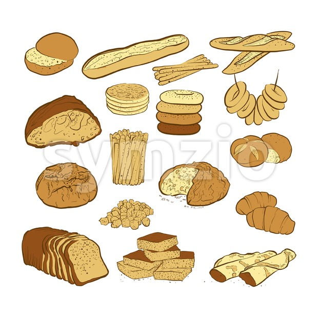 Set of various colored breads, hand-drawn vector illustration