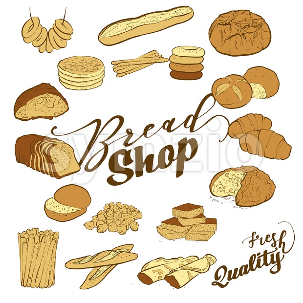 Hand-drawn bread shop typography with set of breads