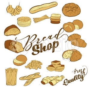 Big set of breads Stock Vector