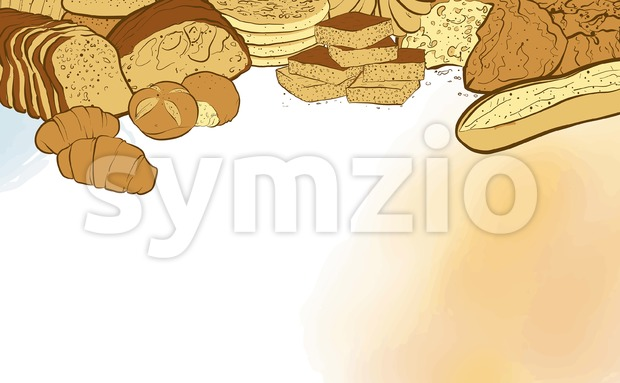 Bakery breads banner with watercolor background. hand-drawn vector illustration