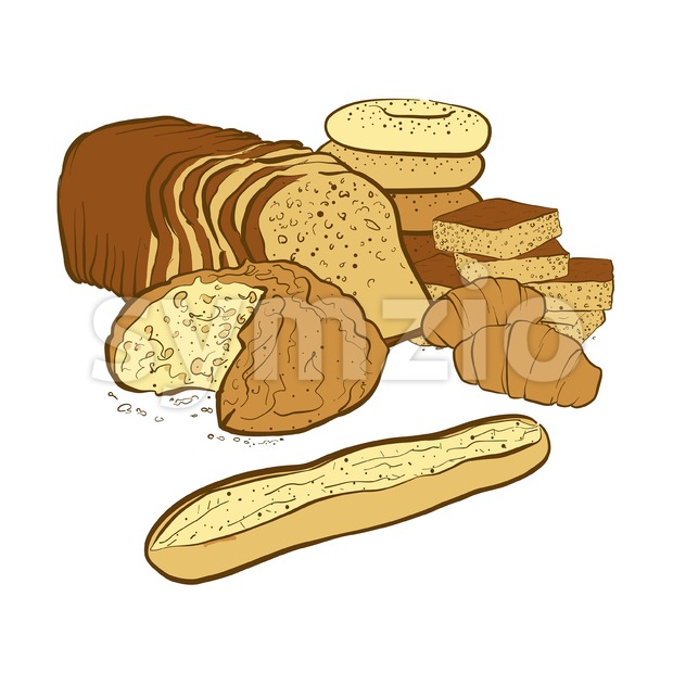 bakery products composition Stock Vector