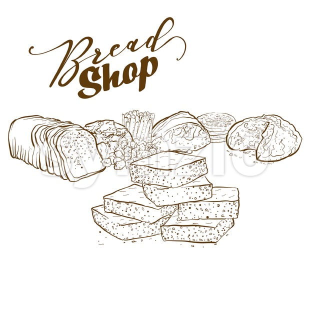 Collection of bakery products Stock Vector