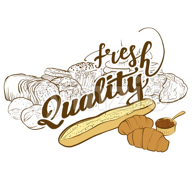 Bakery logo fresh quality Stock Vector