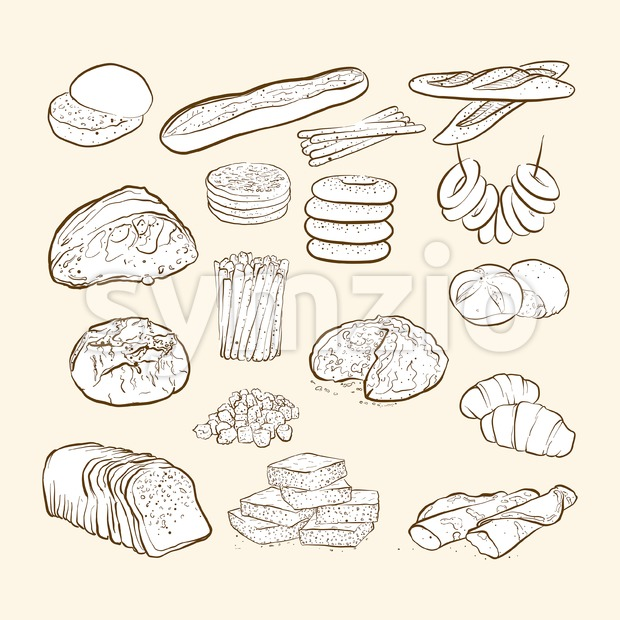 breads and bakery icons Stock Vector