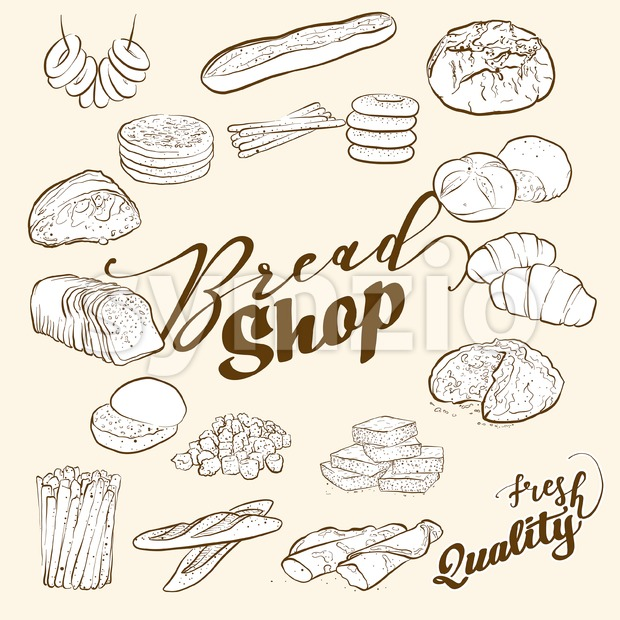 bread icons with typography Stock Vector