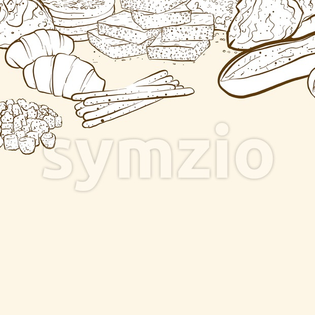 Bakery products banner background, hand-drawn vector illustration
