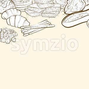 bakery products banner background Stock Vector