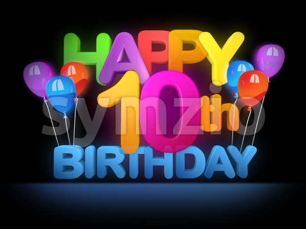 Happy 10th Birthday Title dark Stock Photo