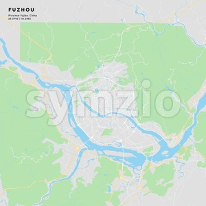 Printable street map of Fuzhou, China Stock Vector