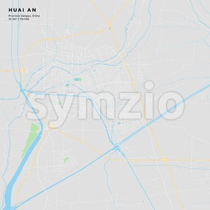 Printable street map of Huai an, China Stock Vector
