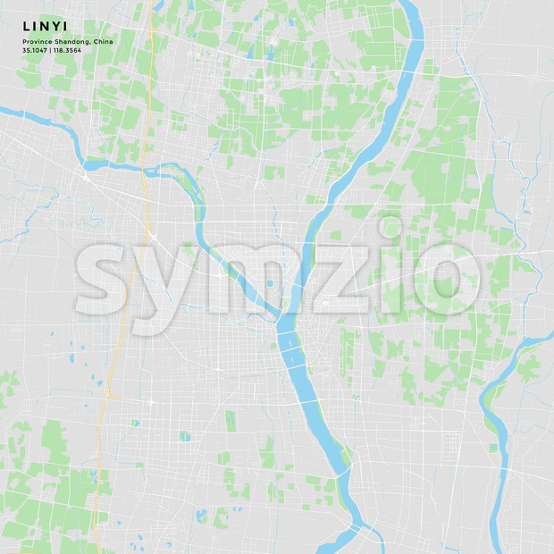 Printable street map of Linyi, China Stock Vector