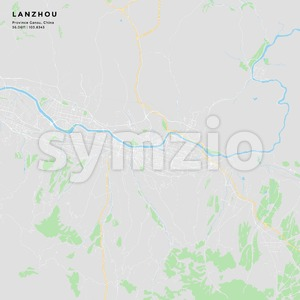Printable street map of Lanzhou, China Stock Vector