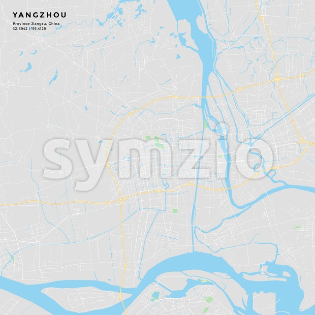 Printable street map of Yangzhou, China Stock Vector