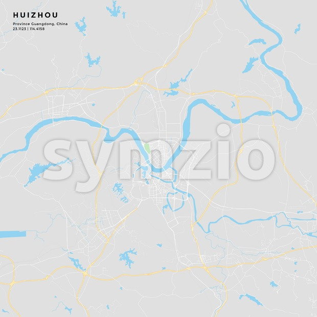 Printable street map of Huizhou, China Stock Vector