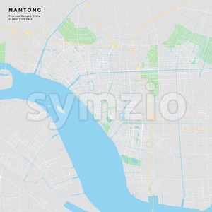 Printable street map of Nantong, China Stock Vector