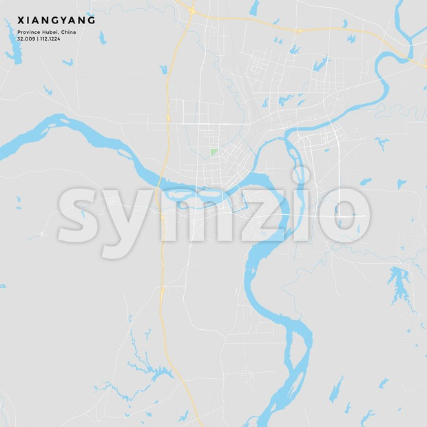 Printable street map of Xiangyang, Province Hubei, China.