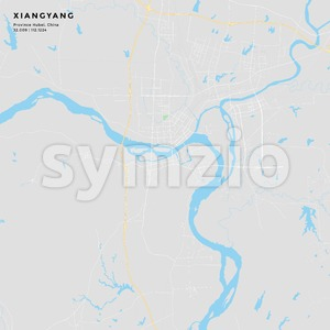 Printable street map of Xiangyang, China Stock Vector