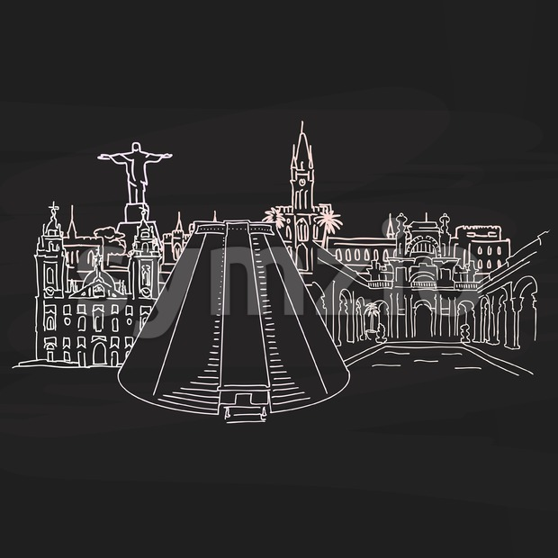 Bright landmarks of of Rio de Janeiro on blackboard. Hand-drawn high quality vector outline drawing.