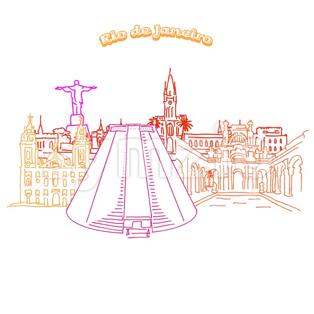 Colorful landmarks of of Rio de Janeiro. Hand-drawn high quality vector outline drawing.