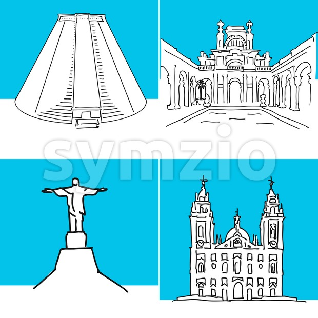 Rio de Janeiro set of buildings. Hand-drawn high quality vector outline drawings.