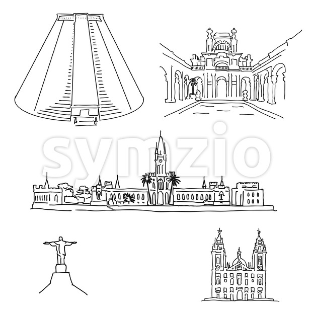 Rio de Janeiro famous architecture drawings. Hand-drawn high quality vector outline vector sketches.