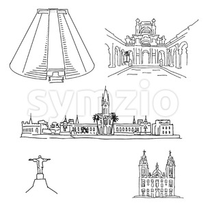 Rio de Janeiro famous architecture drawings Stock Vector