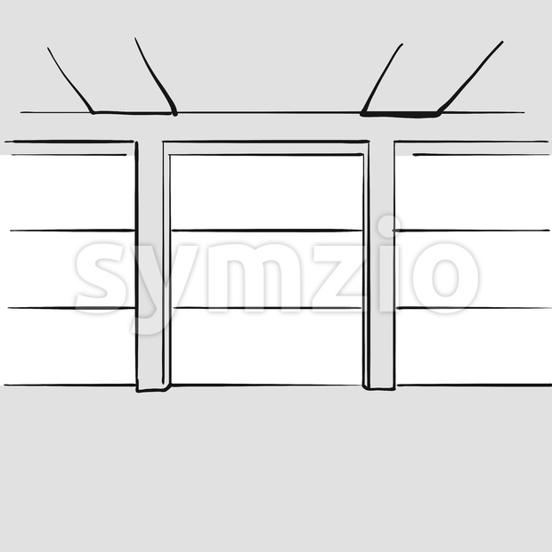 Empty large office with windows. Hand drawn vector illustration. Series of sketched business backgrounds.