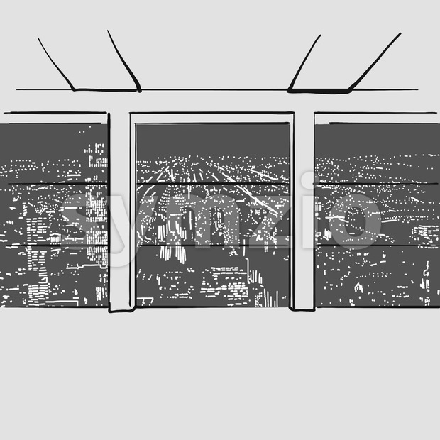 Empty large office with city in background. Hand drawn vector illustration. Series of sketched business backgrounds.