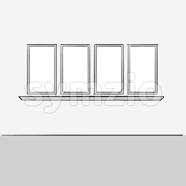 Empty office wall with windows. Hand drawn vector illustration. Series of sketched business backgrounds.