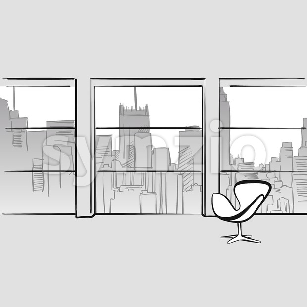 Empty office room. Hand drawn vector illustration. Series of sketched business backgrounds.